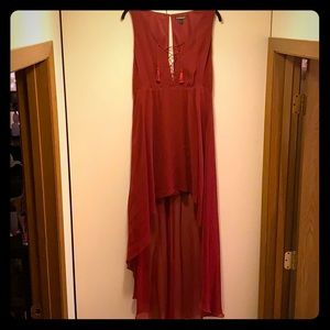 High-Low Maroon Dress with Tassels by Express